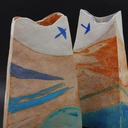 Jill Fanshawe Kato Fly to the Coast 2, Stoneware h34 x 21 x 8 cm and Fly to the Coast 1, Stoneware h34 x 21.5 x 10 cm