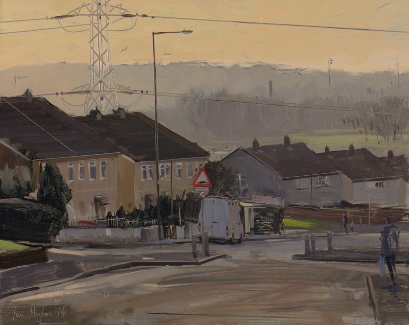 Tom Hughes Van with Pylon in Lockleaze, December Oil on Panel 20 x 25 cm