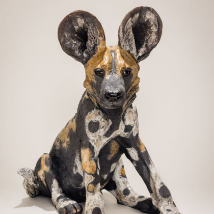 Nick Mackman Wild Dog Pup 2 (group), Low-fired ceramic