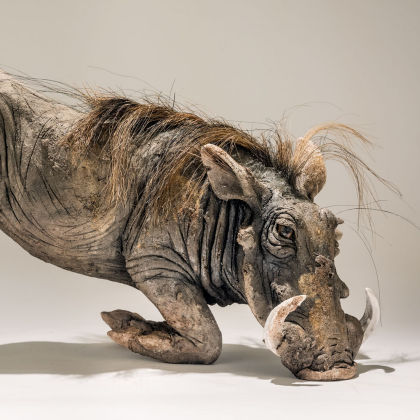 Nick Mackman Rooting Warthog, Low Fired ceramic L53 x h29 x d24 cm