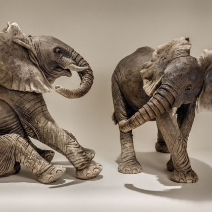Nick Mackman Baby Elephants Playing (from left)1 and 2, Low-fired ceramic
