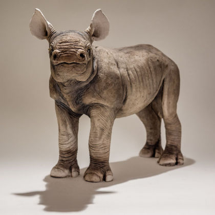 Nick Mackman Black Rhino Calf, Low-fired Ceramic 45 x 33 cm