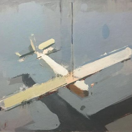 Simon Wright Plane, Oil on board 24 x 29 cm