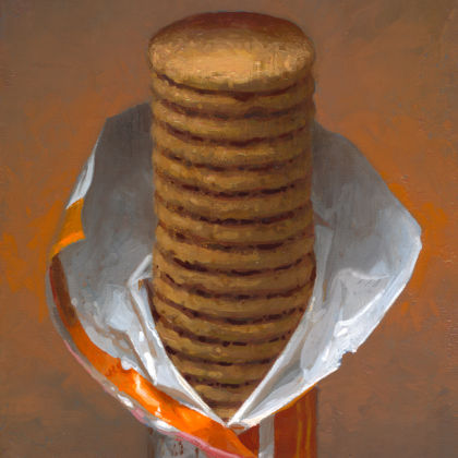 Conor Walton Biscuits, Oil on linen 30 x 20 cm
