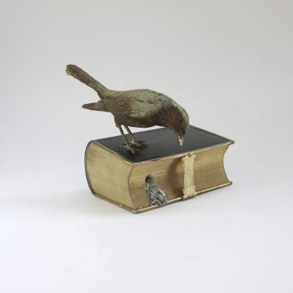 Patrick Haines Redstart and Beetle, Bronze and book Ed. of 10 h14 x 14 x 12 cm