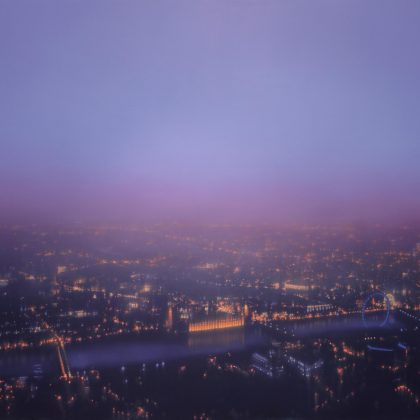 Jenny Pockley Mauve Westminster OIl on Canvas 120 x 150 cm.