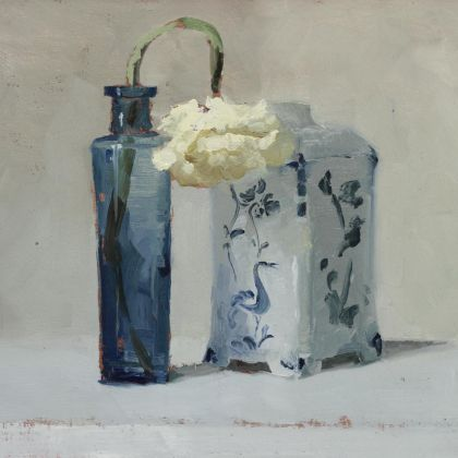 Helen Simmonds Tea Caddy, Bottle and Bloom Going Over, Oil on paper on board 13 x 19cm