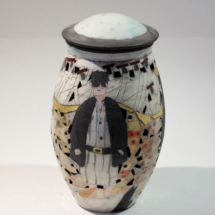 Rob Whelpton 11. Lidded Pierced People Fish Pot, Raku fired stoneware h24cm