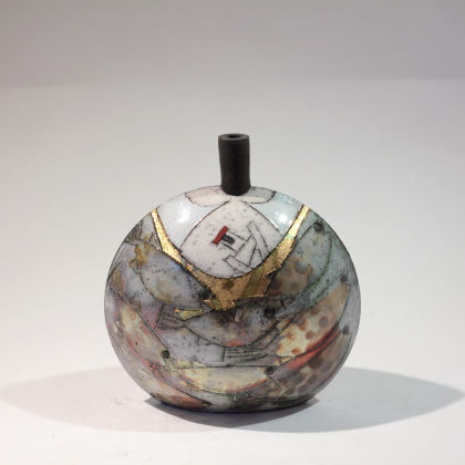 Rob Whelpton 12. Large Bottle, Raku fired stoneware 18 x 18cm