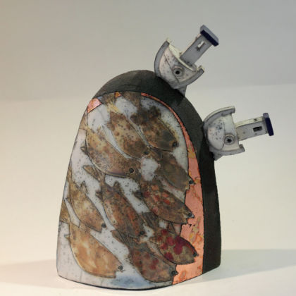 Rob Whelpton 24. Double Boat on Rock, Raku fired stoneware 25 x 20cm