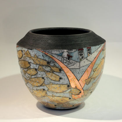 Rob Whelpton 31. Large Fish bowl, Raku fired stoneware 21 x 23cm