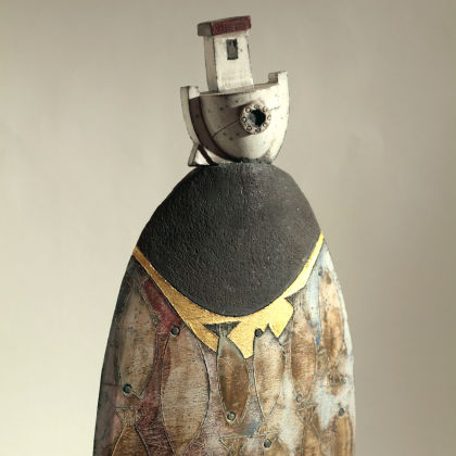 Rob Whelpton 43a. Large Boat on Rock, Raku fired stoneware ht36cm