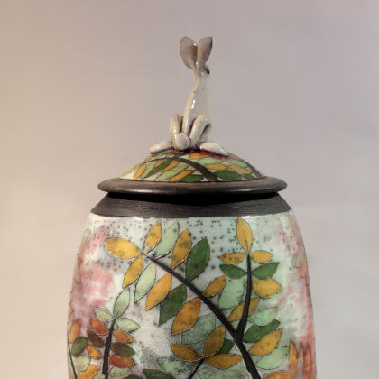 Rob Whelpton 4. Large Hare on Pot, Raku fired stoneware 46 x 18cm