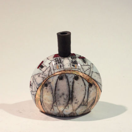 Rob Whelpton 6. Small Bottle, Raku fired stoneware 12 x 10cm