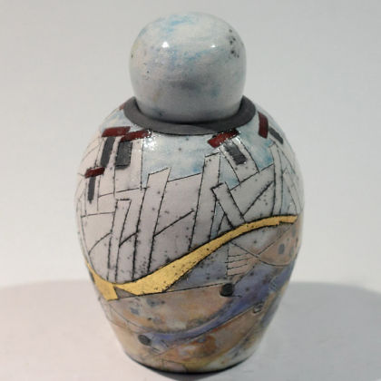 Rob Whelpton 28. Small bottle and stopper, Raku fired stoneware h13cm
