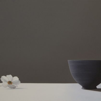 Jo Barrett Still Life with Japanese Anemone and Black Bowl, Oil on Canvas 70 x 100 cm.
