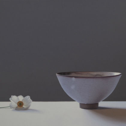 Jo Barrett Still Life with Japanese Anemone and Bowl, Oil on Canvas 53 x 80cm.