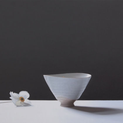 Jo Barrett Still Life with Japanese Anemone and Pink Footed Bowl, Oil on Canvas 70 x 100 cm.