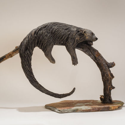 Nick Mackman Bornean Binturong, Low Fired Ceramic, Found wood, stone