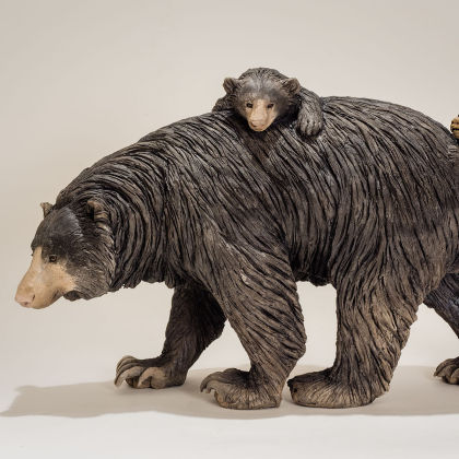 Nick Mackman Sloth Bear and Twins, Low Fired Ceramic