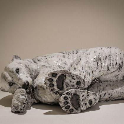 Nick Mackman Polar Bear '40 Winks', Low-fired ceramic