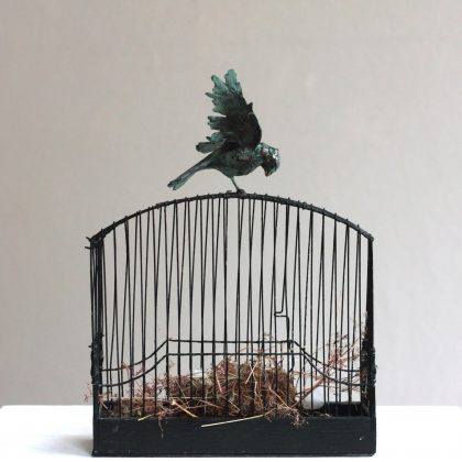Patrick Haines Bird on Cage, Bronze bird and found objects Ed. of 10 h44 x 33 x 12 cm