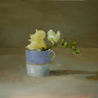 Helen Simmonds Freesia in Lilac Cup, Oil on board 19 x 22 cm.