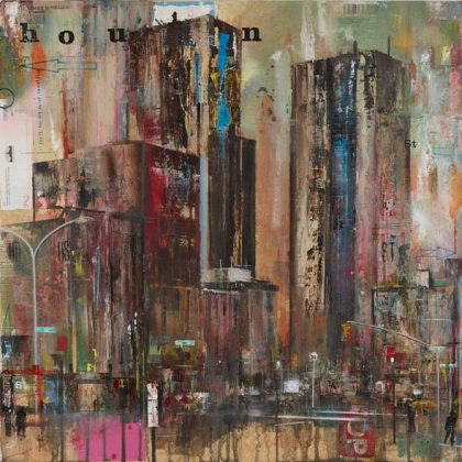 Akash Bhatt Houston St, Mixed media on canvas 61 x 61 cm.