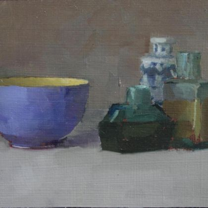 Helen Simmonds Study in Blue and Yellow, Oil on gessoed paper 9 x 17cm.
