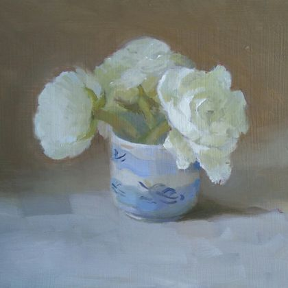 Helen Simmonds Aviv White Ranunculus, Oil on Board Oil on board 13 x 20 cm.