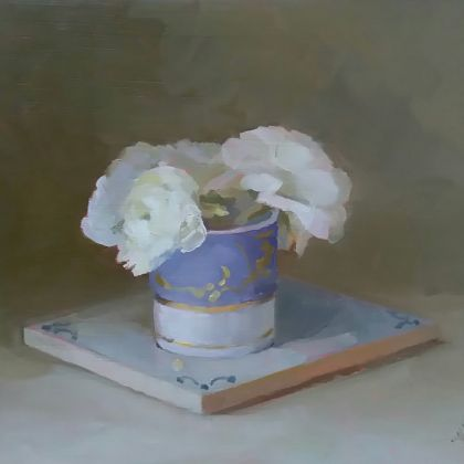 Helen Simmonds Purple and white cup with white flowers, Oil on board 18.5 x 21 cm.